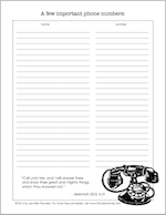 free printable for phone numbers