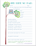 My Life So Far - free printable keepsake for children to fill out every year