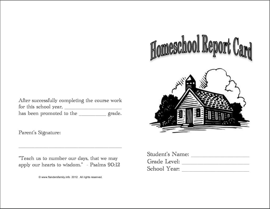 Free Printable Homeschool Report Cards