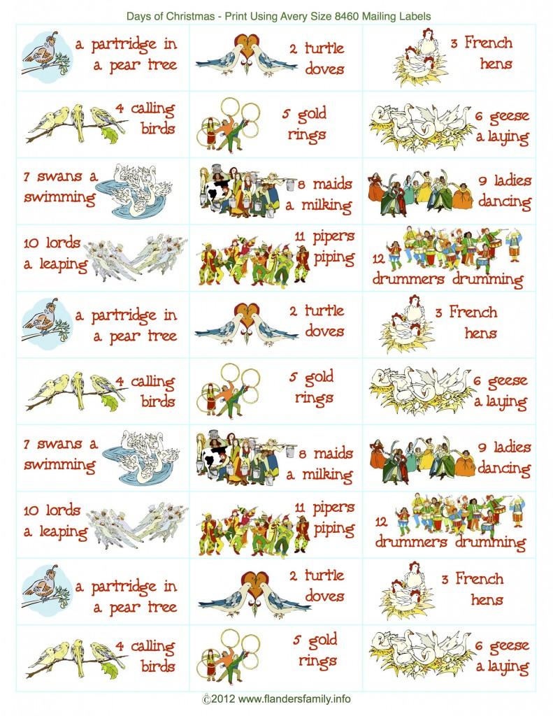 12 Days Of Christmas Sing A Long Labels Flanders Family Homelife