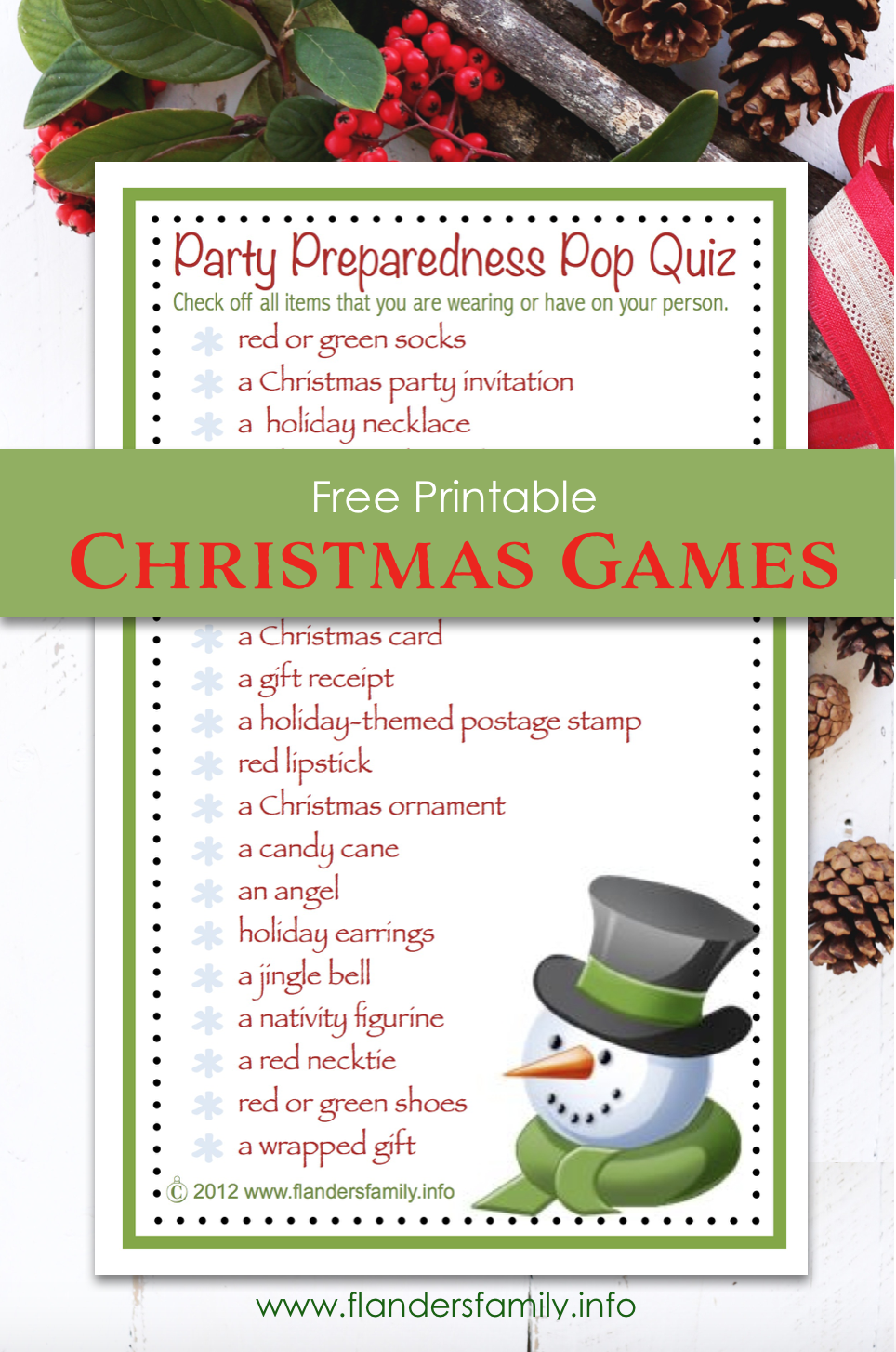 Party Preparedness Pop Quiz Christmas Game