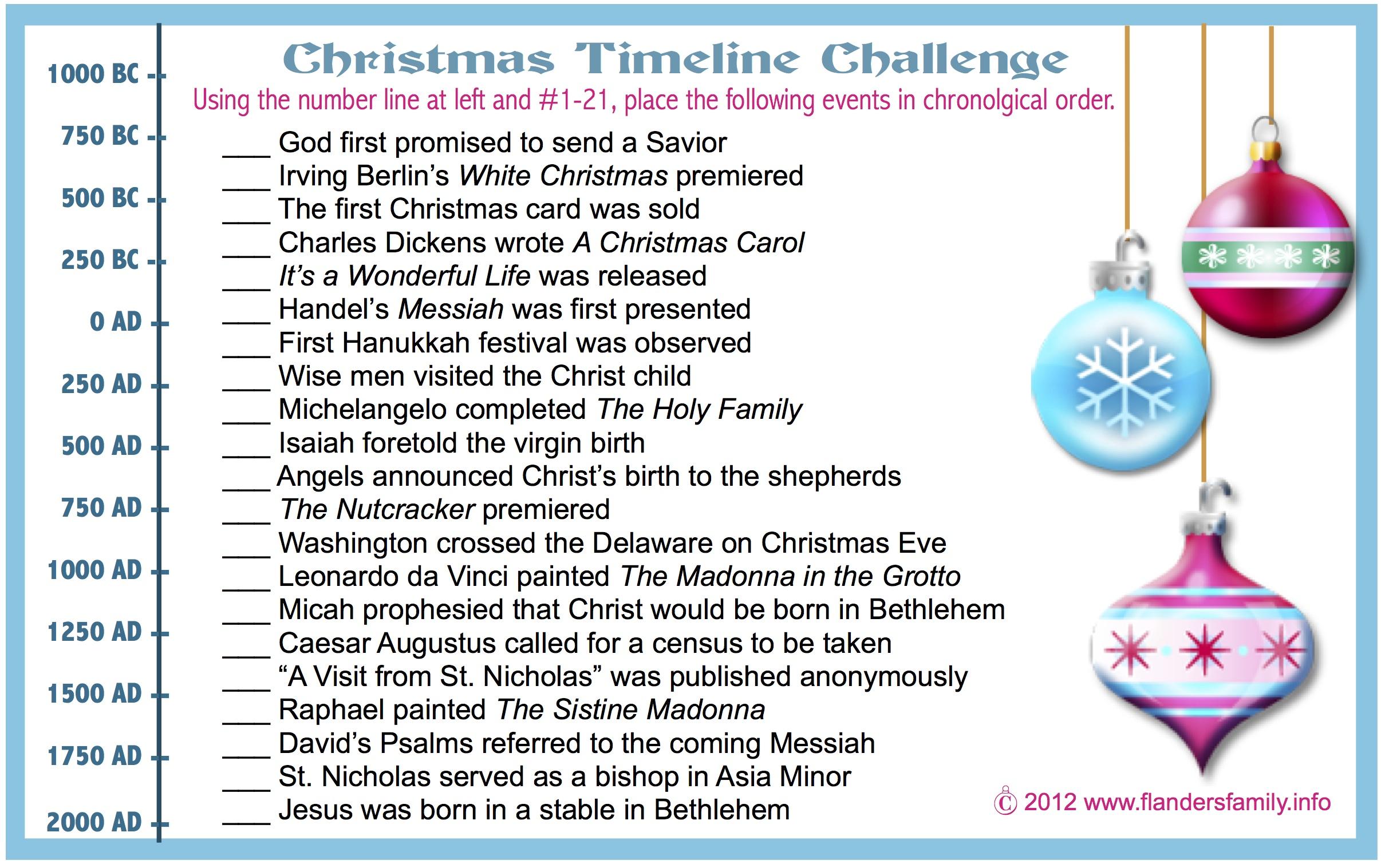 christmas timeline challenge  free printable