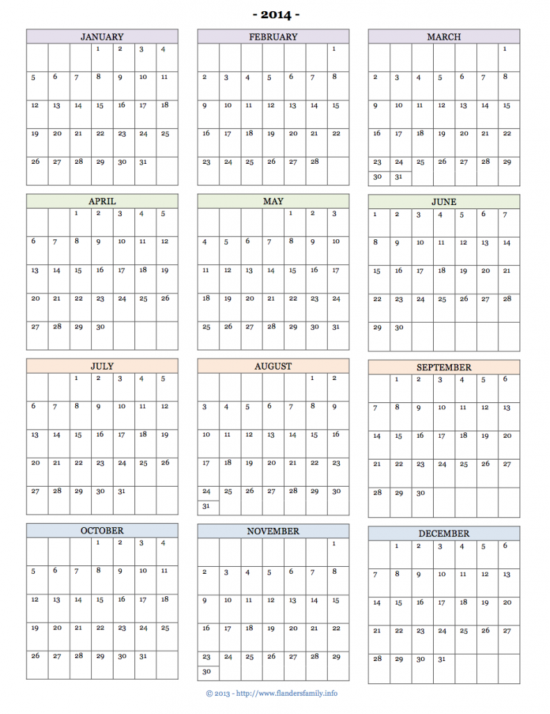 Print Calendar 2014 2019 Printable 2014 Calendars   Flanders Family Homelife