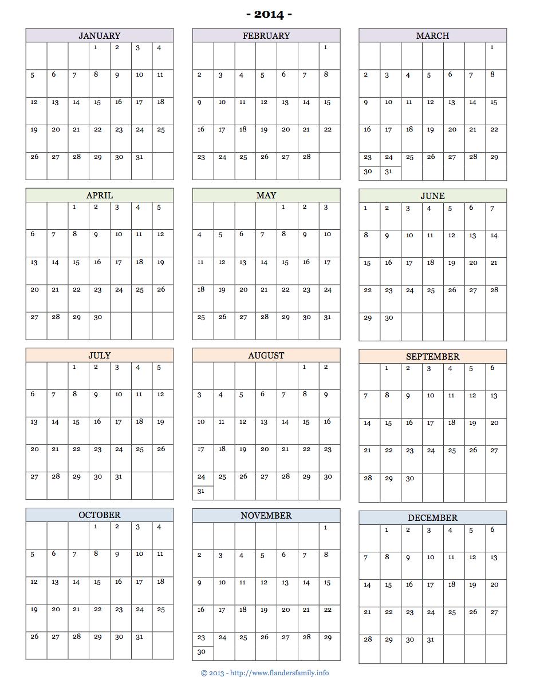Printable 2014 Calendars