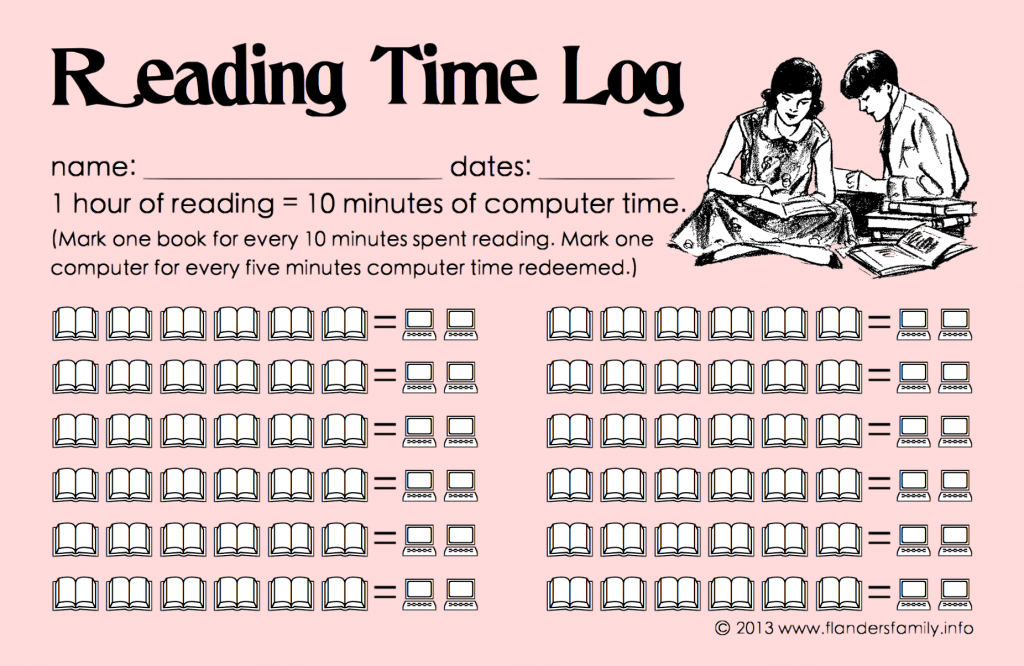 Raising Readers: How to get kids to ditch computer games in favor of reading great books. {free printable progress chart from www.flandersfamily.info