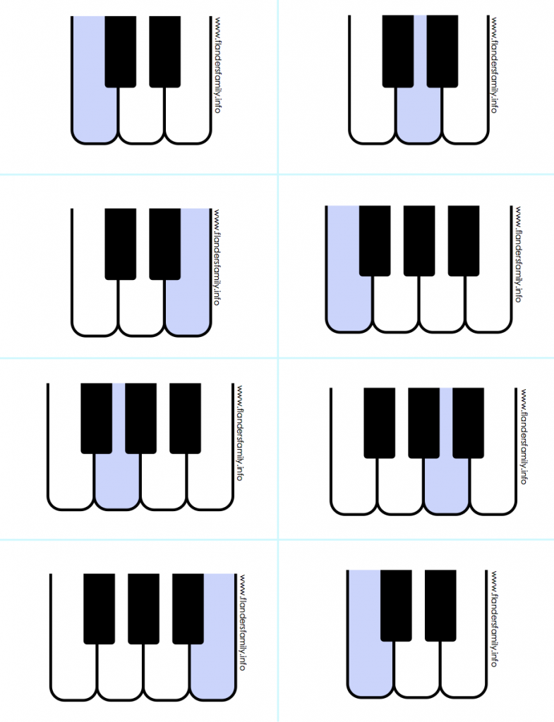 Piano Key Flashcards/ Concentration Game {free printable from www.flandersfamily.info}