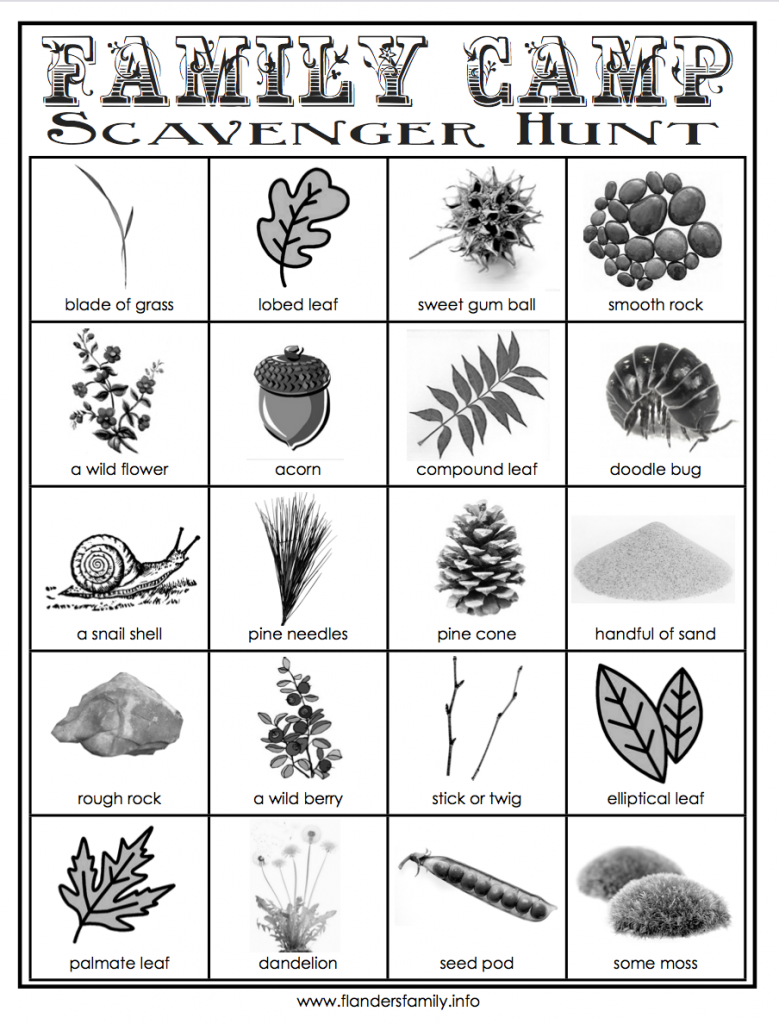 Outdoor Scavenger Hunt Cards {free printable from www.flandersfamily.info}