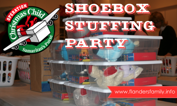 How to host a shoebox stuffing party | with free printables from www.flandersfamily.info