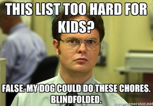 Dwight Chimes In on Children's Chore Chart