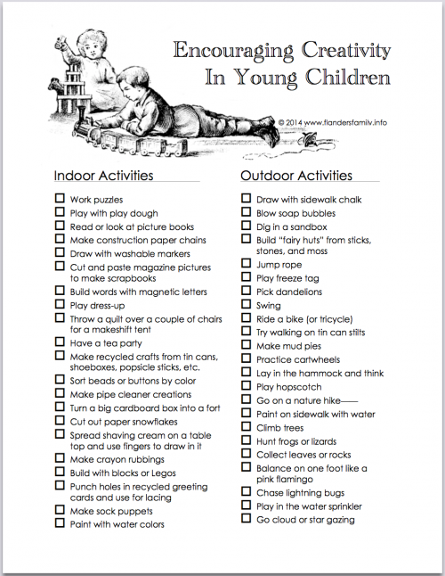 Encouraging Creativity in Young Children   free printable from www.flandersfamily.info