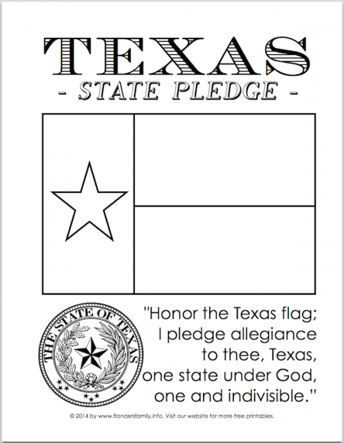 Texas State Flag and Pledge | free printable from www.flandersfamily.info