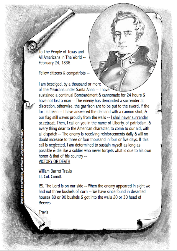 """William Travis' Famous """"Victory or Death"""" letter   a free printable from www.flandersfamily.info"""