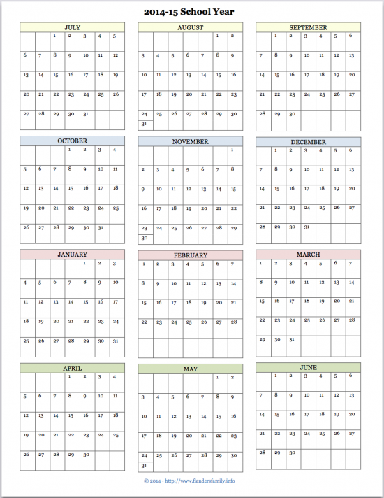 free printable academic calendar from www.flandersfamily.info