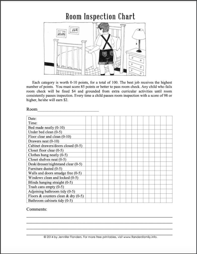Free Printable Bedroom Inspection Checklist - Girl