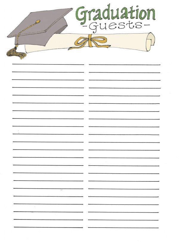 Graduation Guest List printable from flandersfamily.info