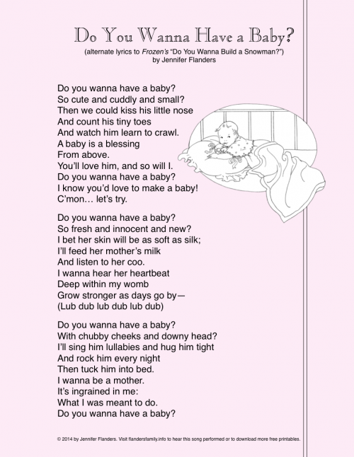 """S""""Do You Wanna Have a Baby?"""" (printable song lyrics from flandersfamily.info)"""