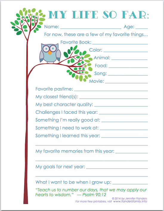"""My Life So Far"" - Free Printable Keepsake Record for Child's Scrapbook 