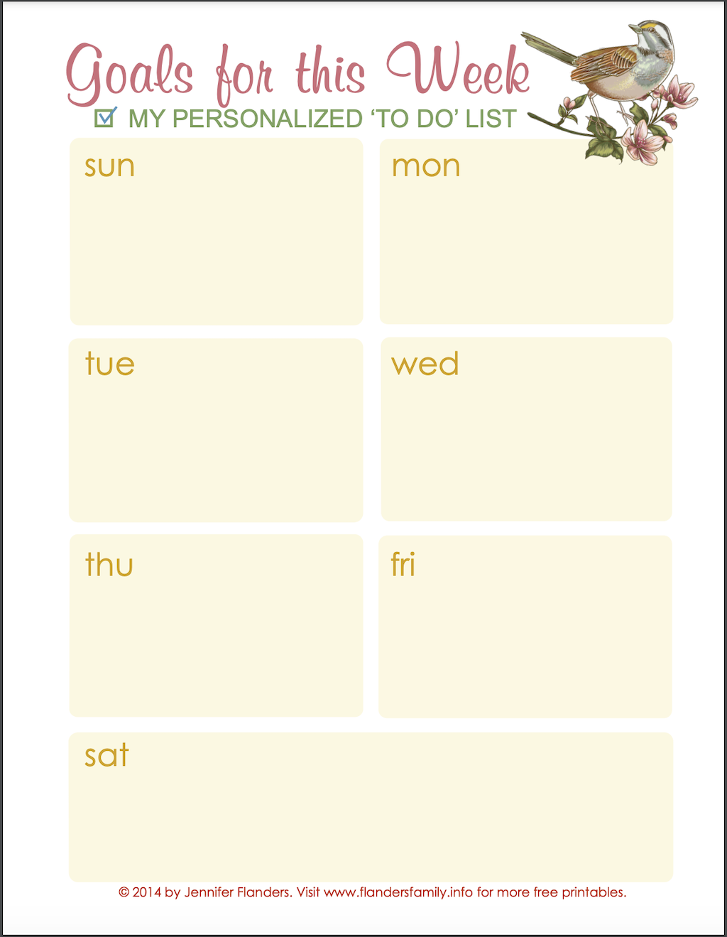 Pretty Weekly Planner
