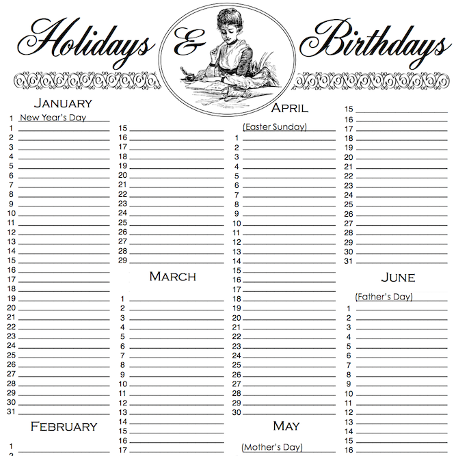 Birthday List {Free Printable}