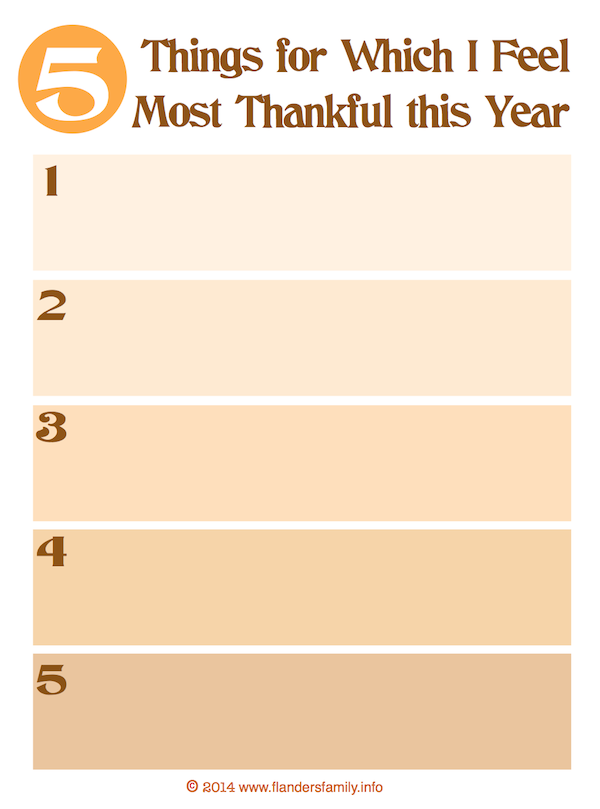 5 Things I'm Thankful For   free printable for counting your blessings (with enough space that even young children can draw pictures of the things they're grateful for)