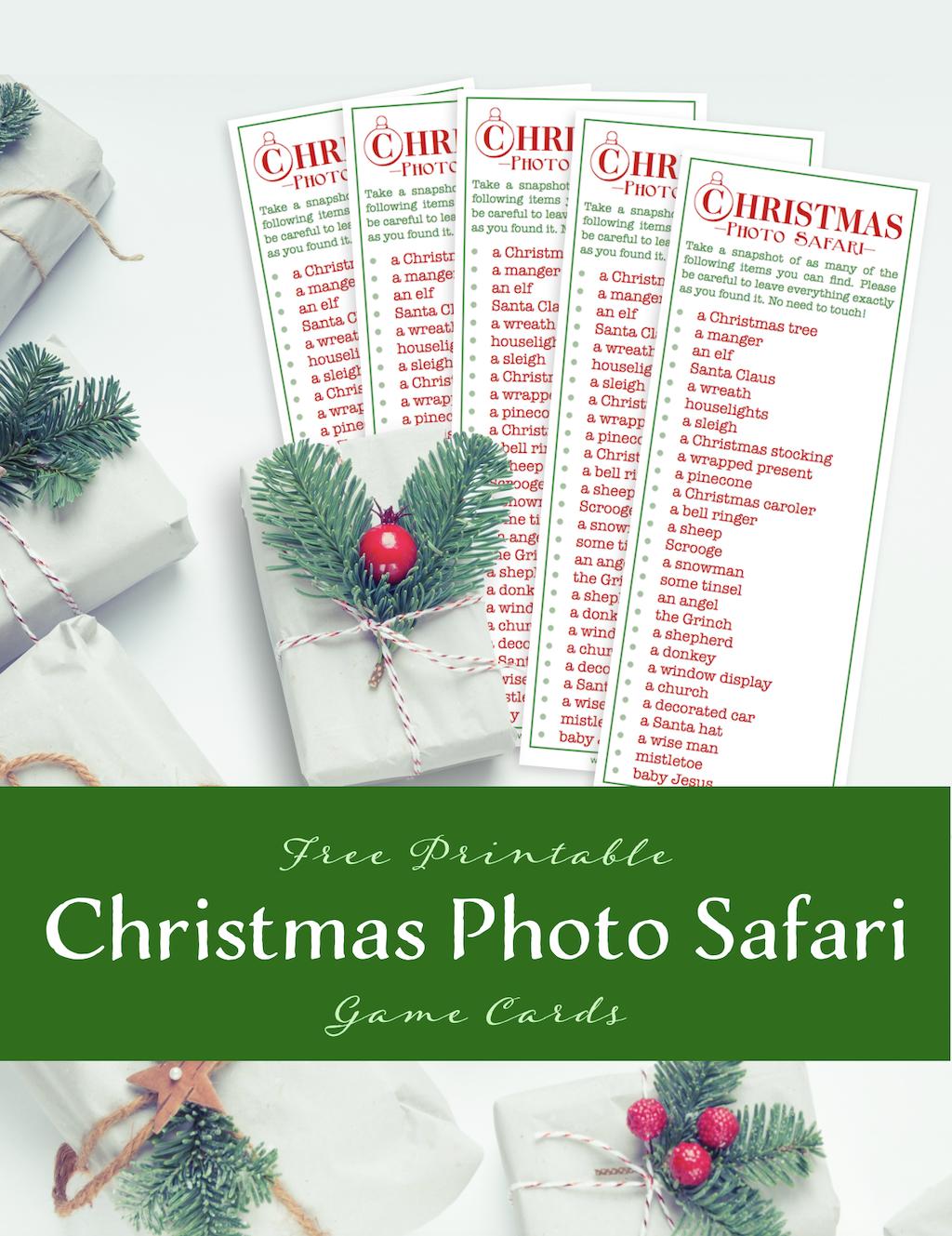 Free Christmas Photo Safari Game Cards