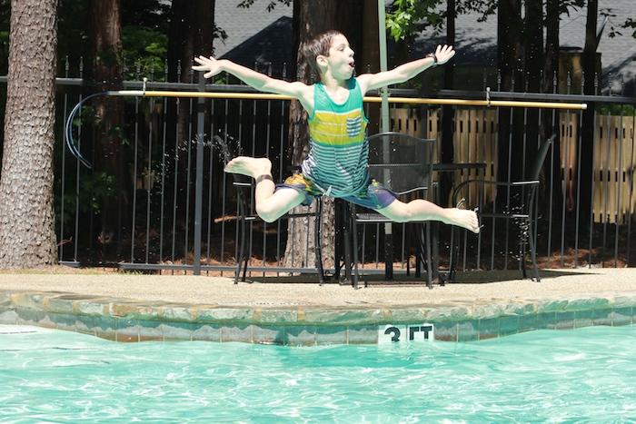 Daniel at the pool