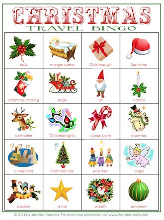 Free printable travel bingo cards for Christmas