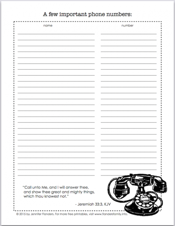 Free printable for keeping track of important phone numbers -- great for babysitters, Sunday school classes, and faltering memories!