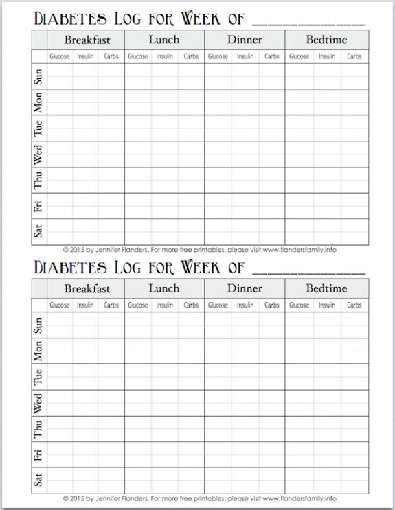 Diabetes log -- I print several copies and staple them in the center to make a little journal for tracking blood sugars, carbs, and insulin dosage.