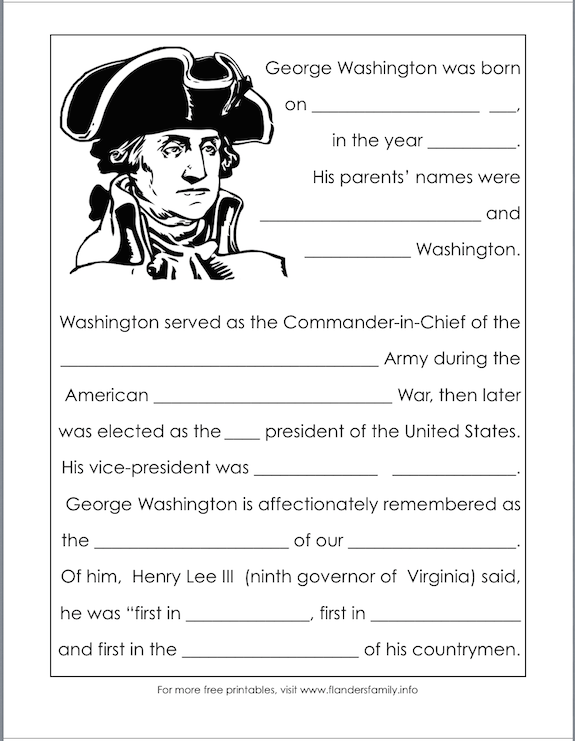 free printables for Washington's birthday from www.flandersfamily.info