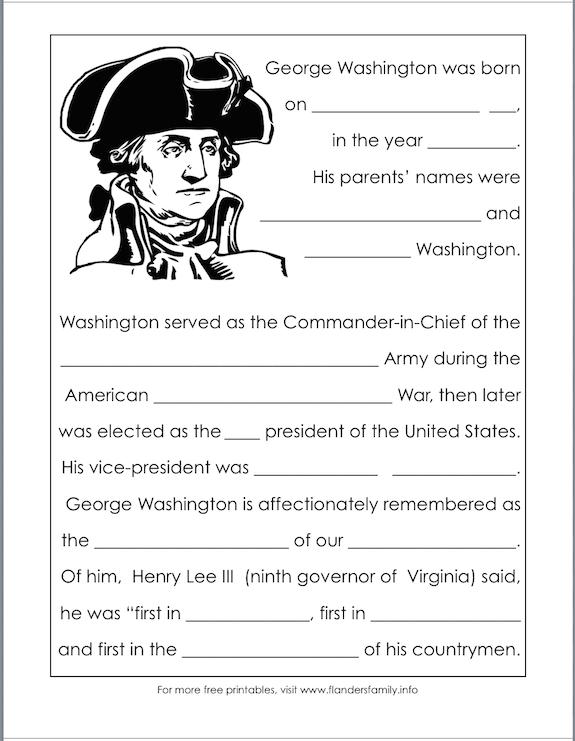 free printables for Washington's birthday from www.flandersfamily.info