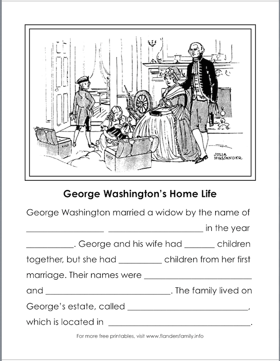 free printables for Washington's birthday from flandersfamily.info