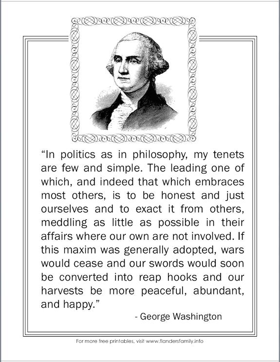 free printables for Washington's birthday from flandersfamily.info