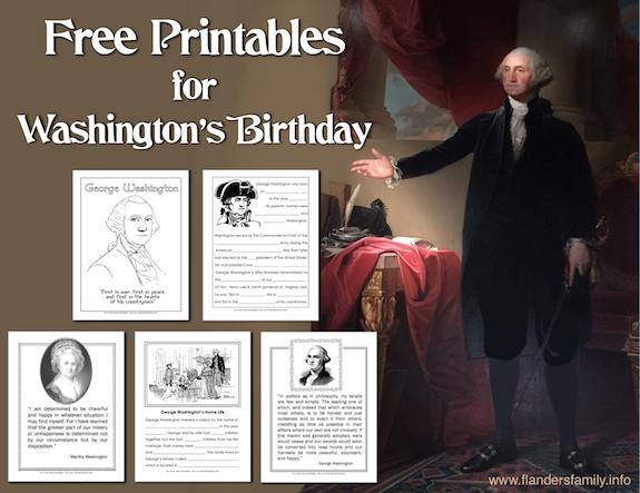 free printables for Washington's Birthday