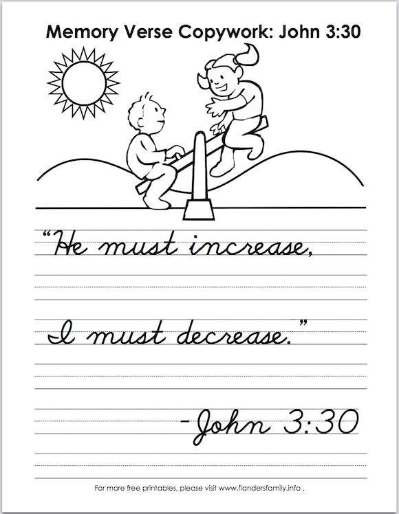 free Scripture verse handwriting worksheets