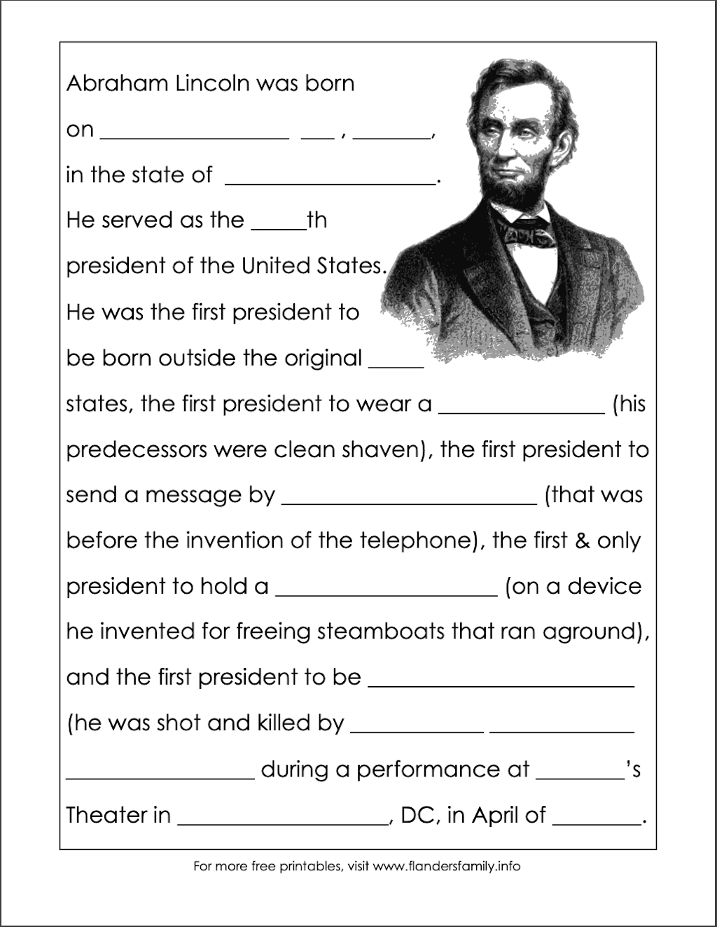 Free Printable Abraham Lincoln Worksheet