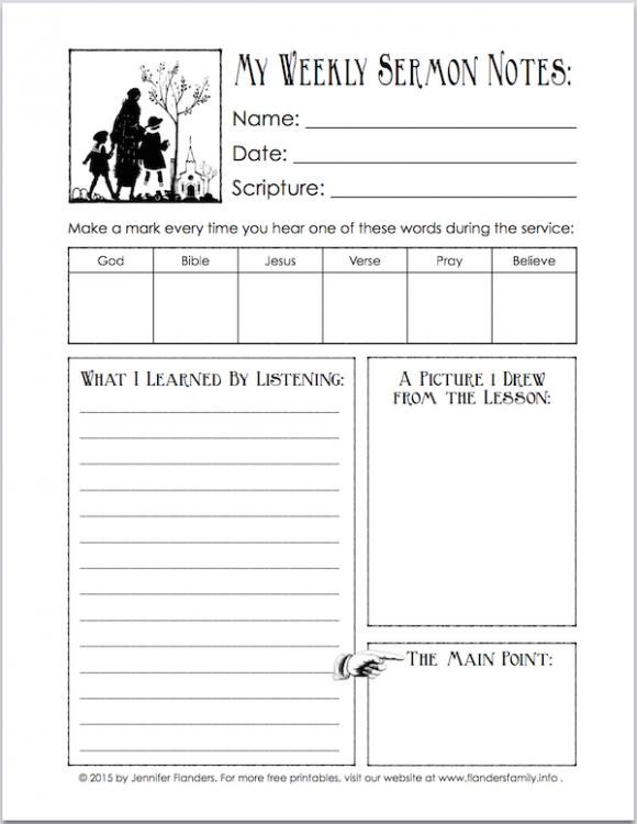 sermon notes printable for children flanders family homelife. Black Bedroom Furniture Sets. Home Design Ideas