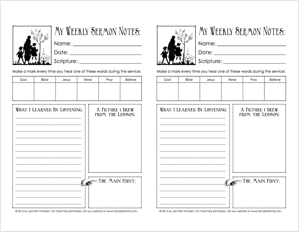 Free printable Sermon Note Template to help children listen in church