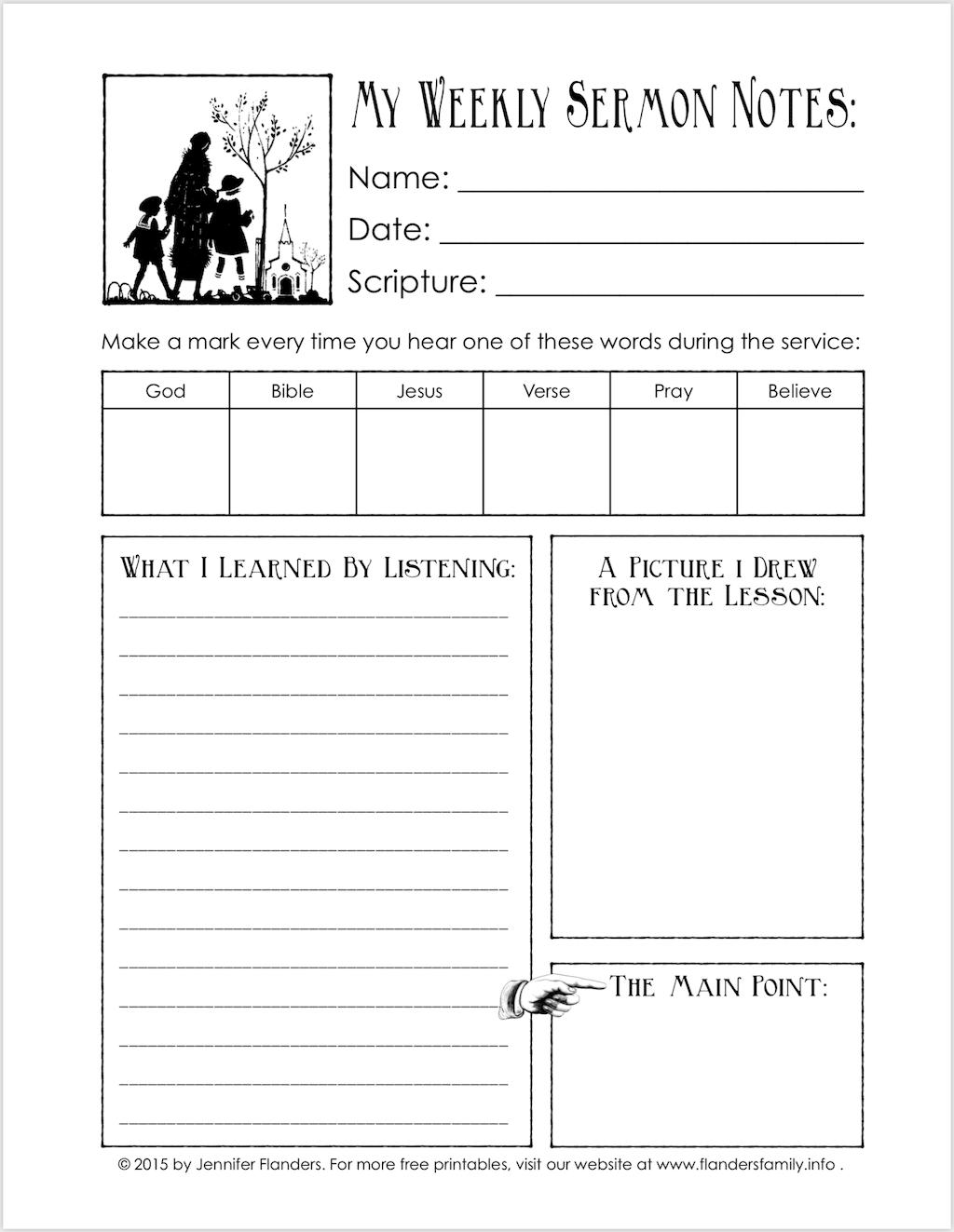 Sermon Notes for Children