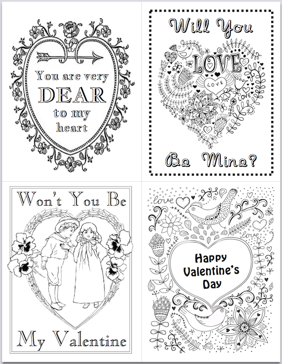 Valentines for You to Color {free printable}