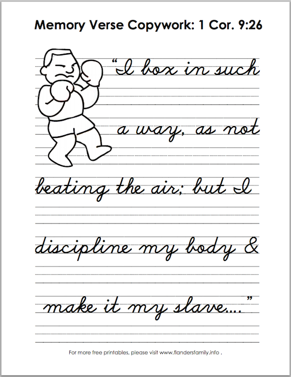 Free printable: Scripture memory copy work for practicing handwriting.