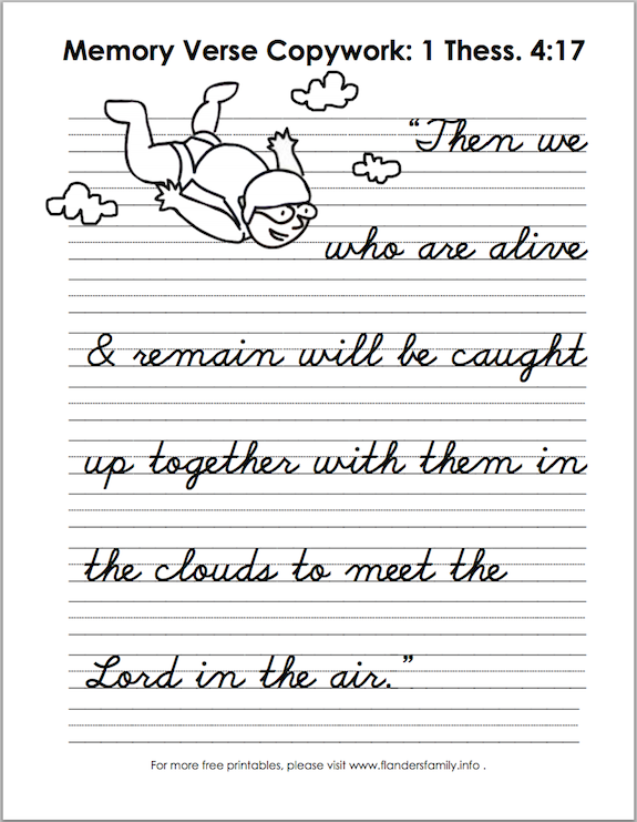 Free printable scripture handwriting practice sheets from www.flandersfamily.info .