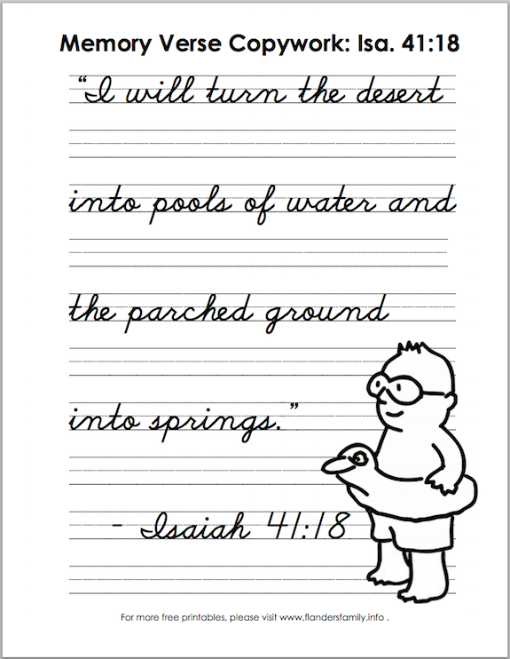 Free printable Bible memory flash cards and handwriting practice sheets from www.flandersfamily.info