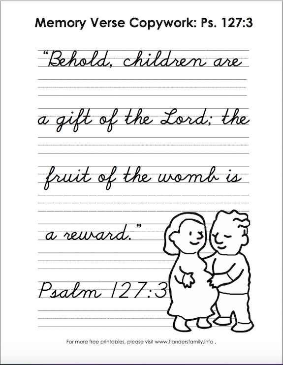 Free printable scripture handwriting practice sheets from www.flandersfamily.info