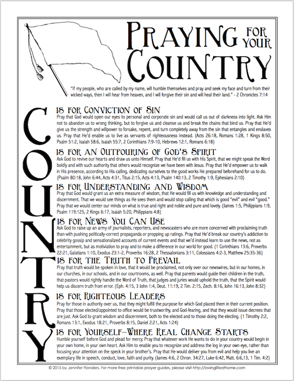 Free printable prayer guide  for your country -- international version.