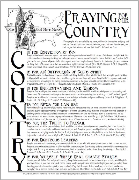 free printable prayer guide for the USA