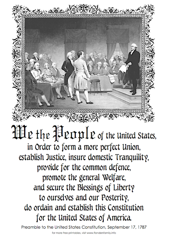 Free printable copy of the Preamble to the US Constitution, from www.flandersfamily.info