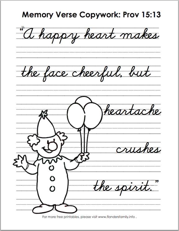 Handwriting Practice using Proverbs 15:13