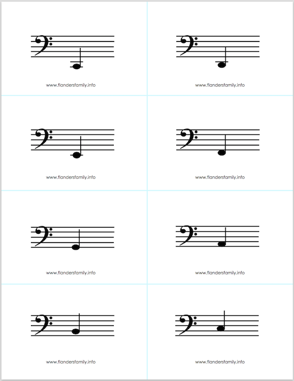 free printable musical note flashcards -- four full octaves -- from www.flandersfamily.info