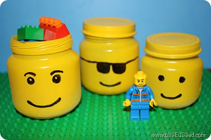 Recycle baby food jars into Lego heads